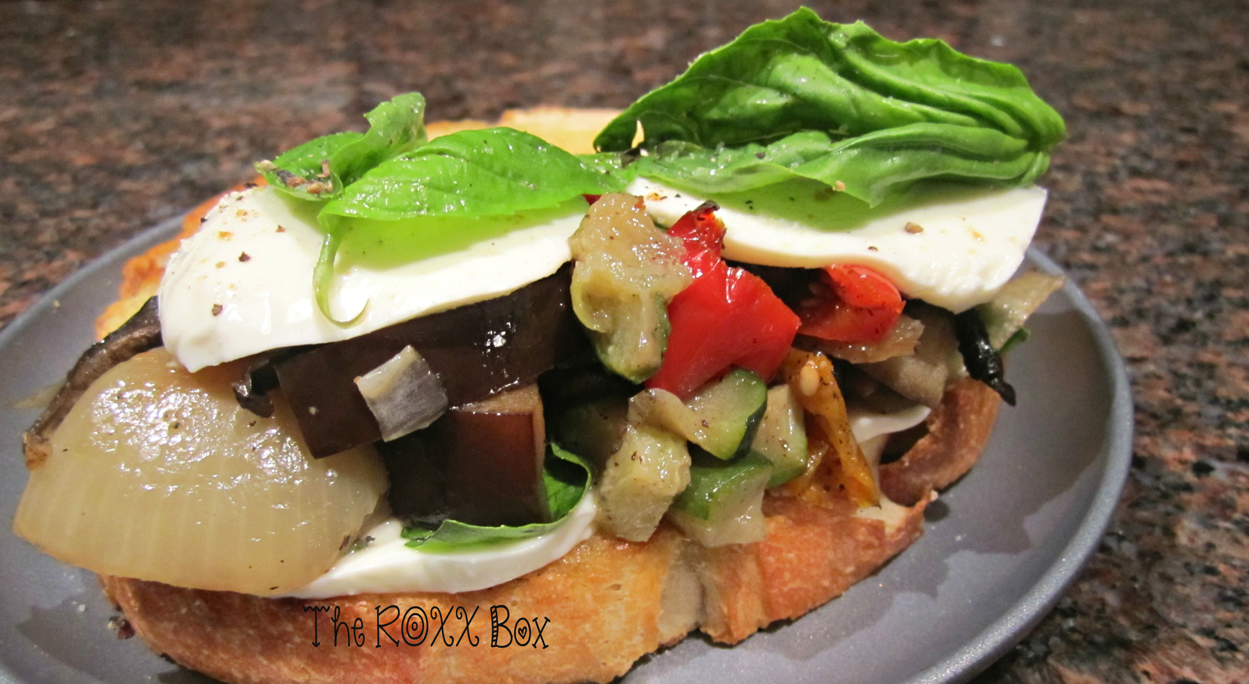 Roasted Vegetables on Grilled French Bread with Fresh Mozzarella & Basil